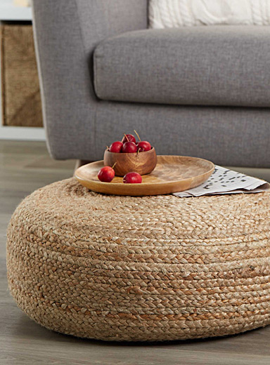 Braided rustic pouf