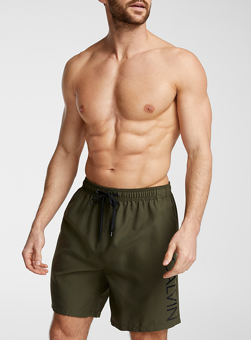 Calvin Klein Black Solid logo swim trunk for men