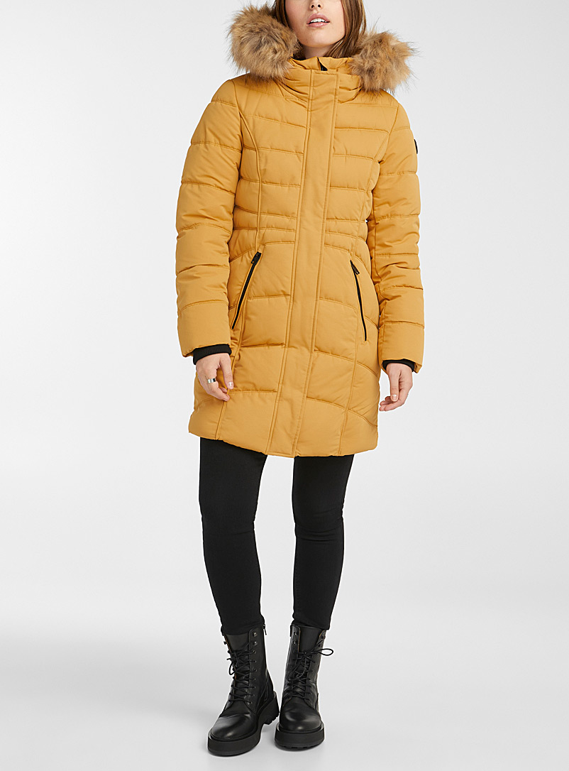 Point Zero Dark Yellow Pamela quilted parka for women