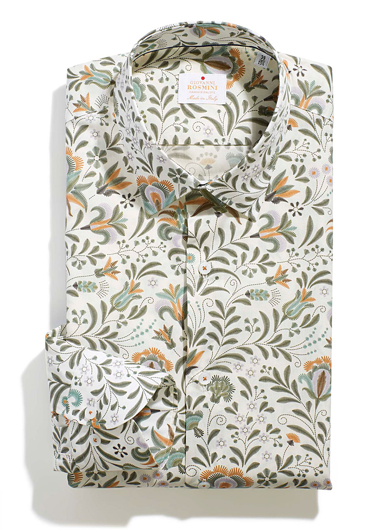 Giovanni Rosmini Patterned White Traced foliage shirt  Modern fit for men