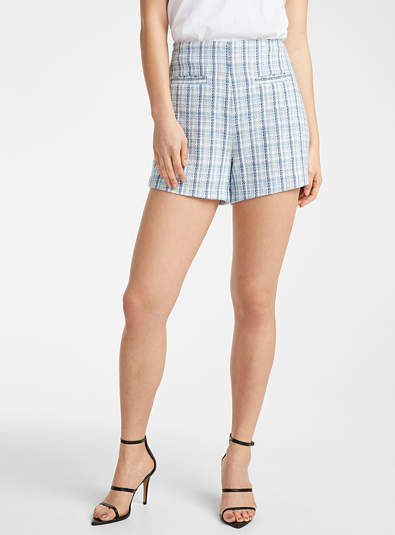 Icône Patterned Blue Ivory tweed short for women