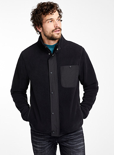 Contrasting-accent polar fleece jacket