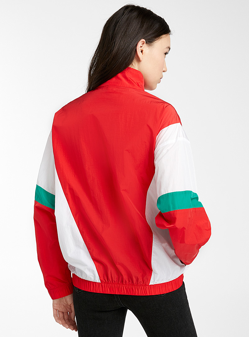 Twik Patterned Red Colour block nylon jacket for women