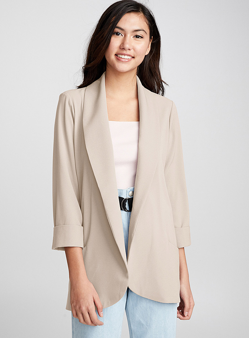 Twik Cream Beige Shawl collar crepe jacket for women