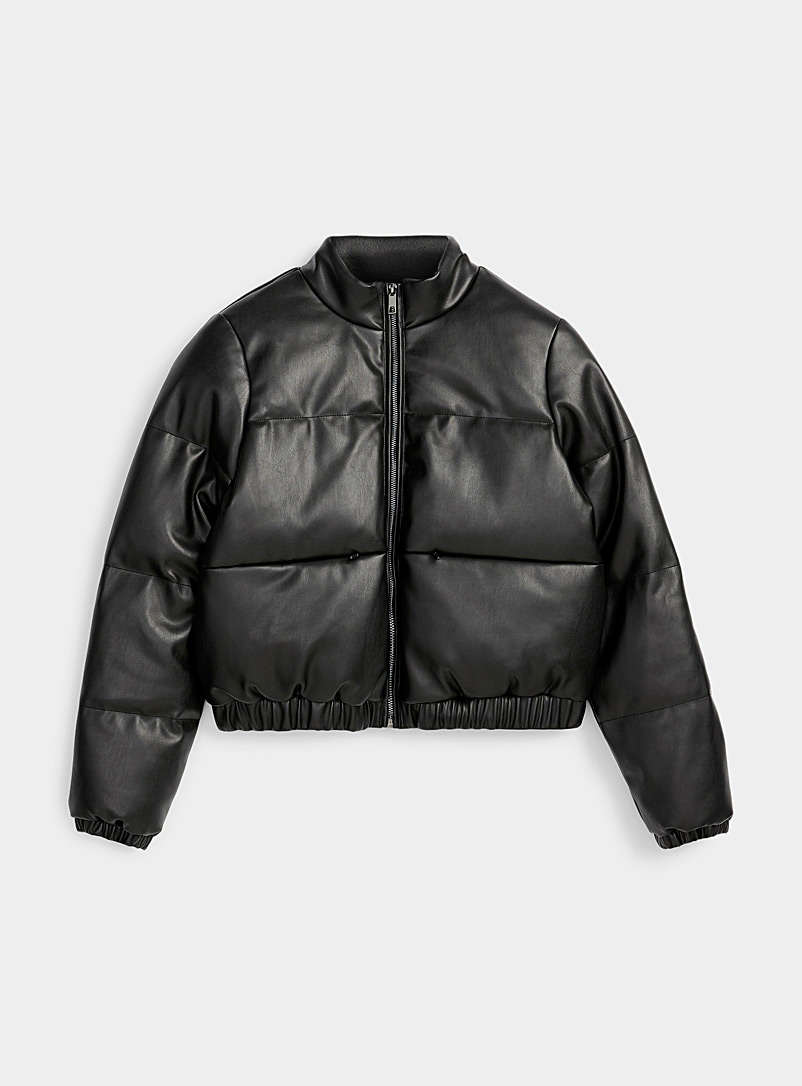 Cropped faux-leather puffer jacket