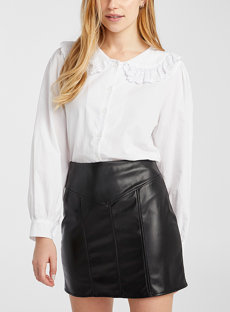 Twik Black Faux-leather miniskirt for women