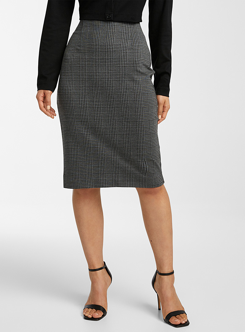 Icône Patterned Brown Structured jersey check pencil skirt for women