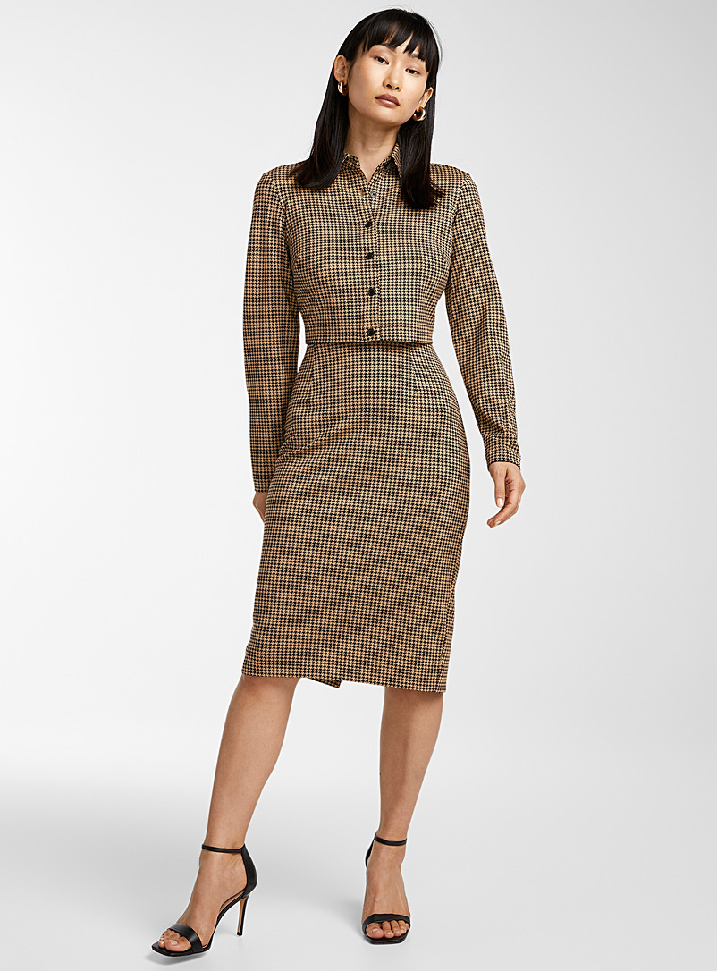 Icône Patterned Brown Structured jersey long-sleeve polo for women