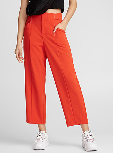 Contrast-seam high-rise pant