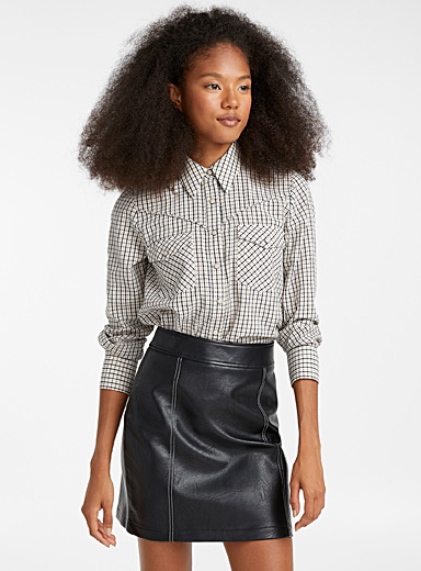 Minimalist faux-leather skirt