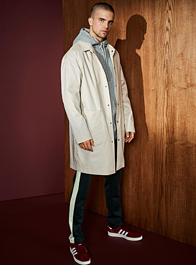 Drop-shoulder waterproof trench coat