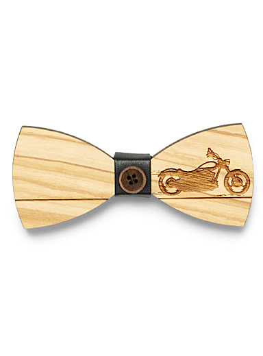Etched-motorcycle wood bow tie