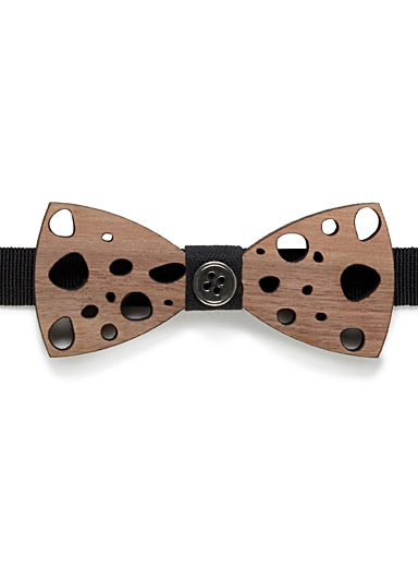 Perforated wood bow tie