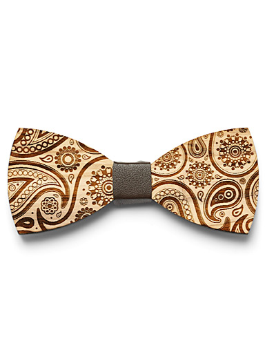 Prosac Mossy Green Paisley wood bow tie for men