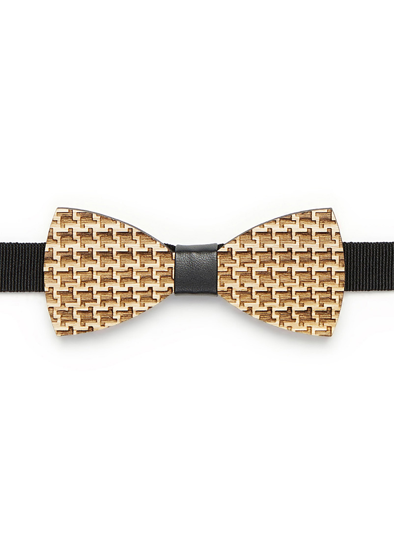 Houndstooth wood bow tie - Bow Ties - Patterned Black