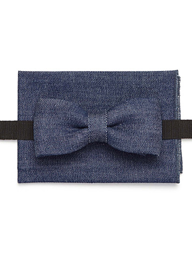 Le duo papillon et foulard pochette denim chambray