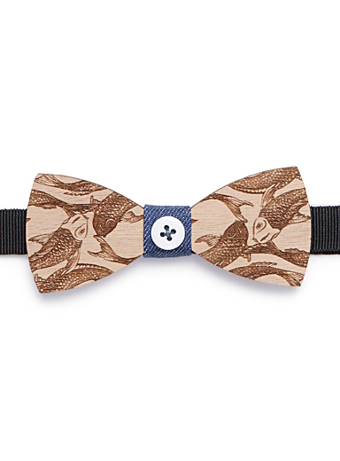 Exotic fish wooden bow tie
