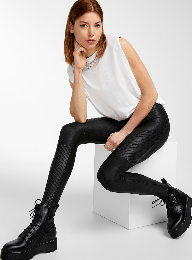 Structured faux-leather legging