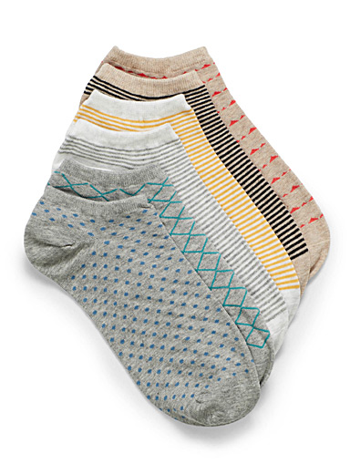 Mini-patterned ped socks  Set of 6