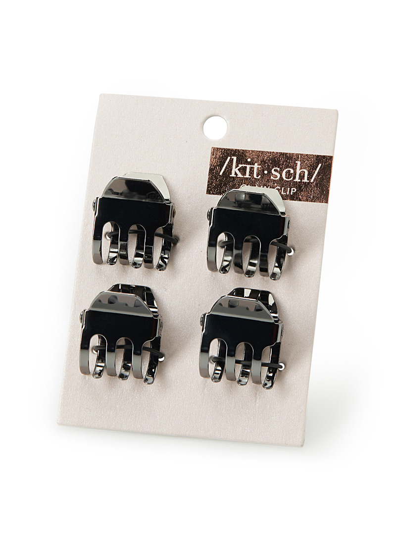 Metallic claw clips  Set of 4 - Barrettes and Clips - Dark Grey