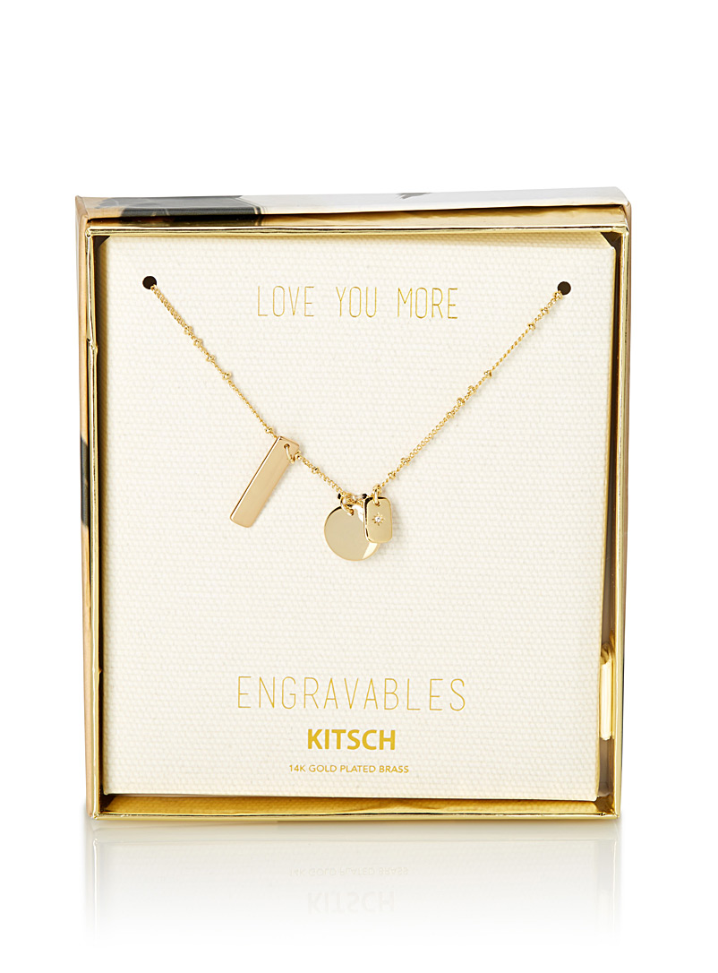 Engravable golden pendants necklace - Necklaces - Assorted