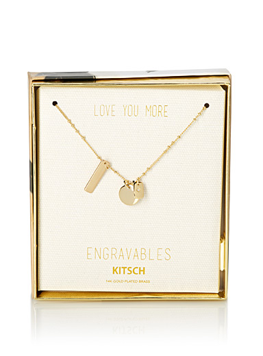 Engravable golden pendants necklace