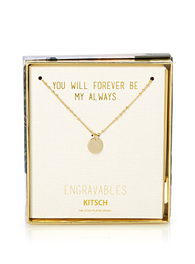 Engravable golden pendant necklace
