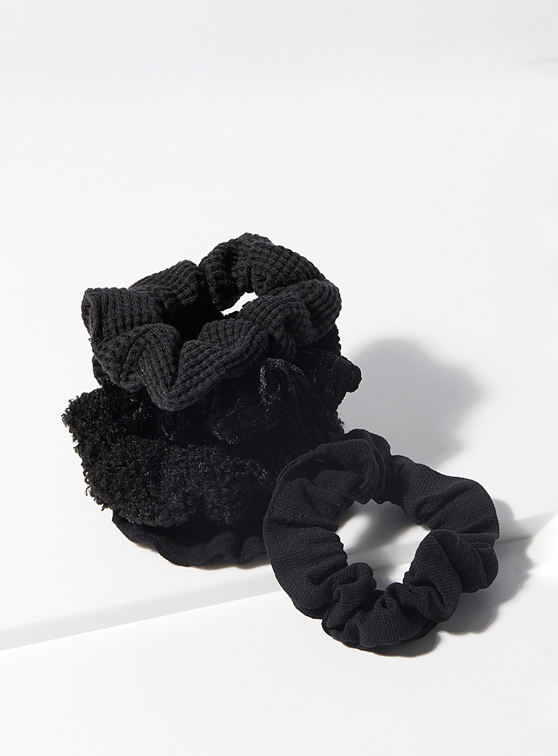 Kitsch Black Mixed textile scrunchies Set of 5 for women