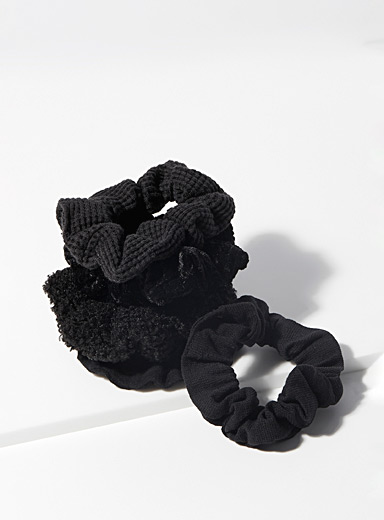 Mixed textile scrunchies Set of 5