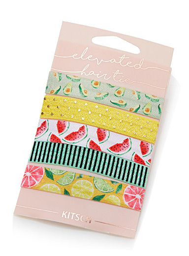 Seasonal pattern knotted elastics  Set of 5