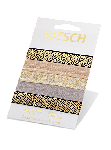 Golden pattern knotted elastics <br>Set of 5
