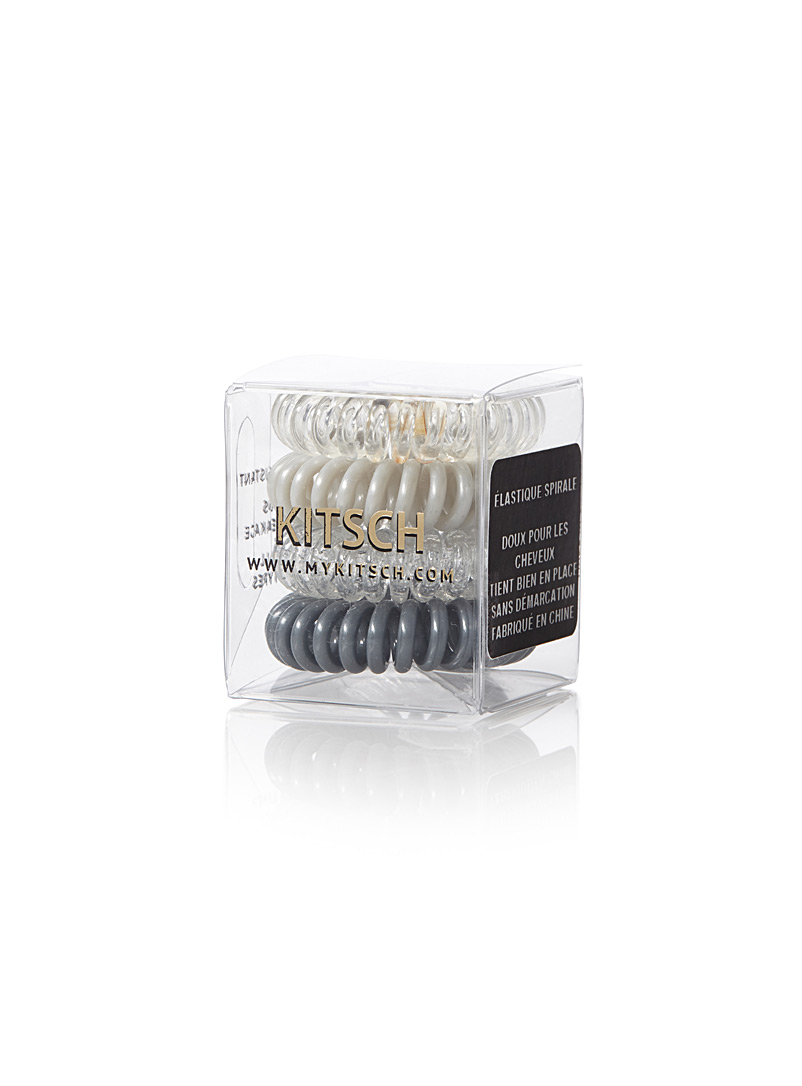 Silver telephone cord elastics  Set of 4