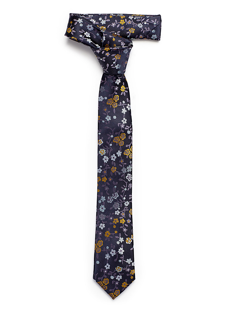 Le 31 Dark Yellow Oriental flowers tie for men