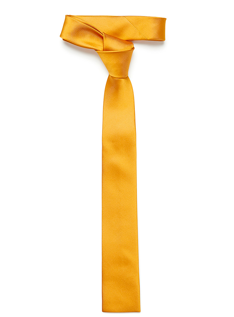 Satiny colour tie - Skinny Ties - Golden Yellow
