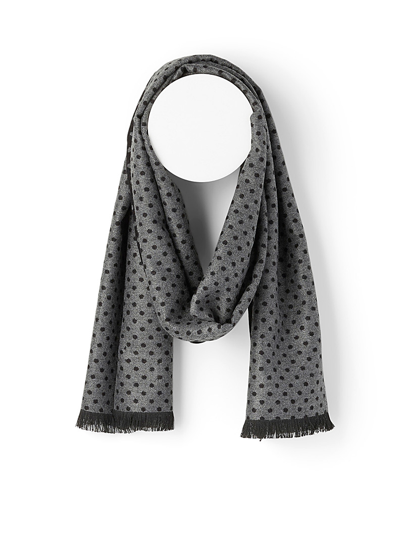 Le 31 Patterned Black Repeat dot scarf for men