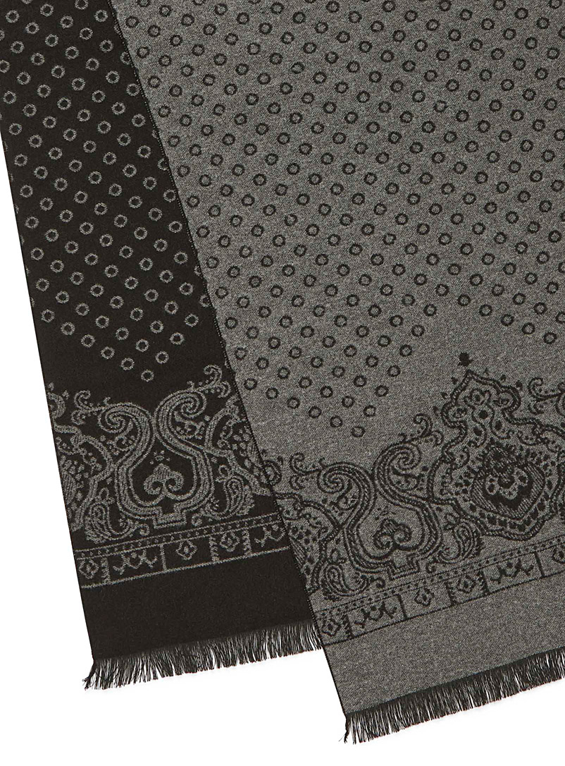 Le 31 Black Disc and paisley scarf for men