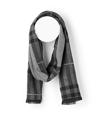 Le 31 Patterned Black Dark tartan scarf for men