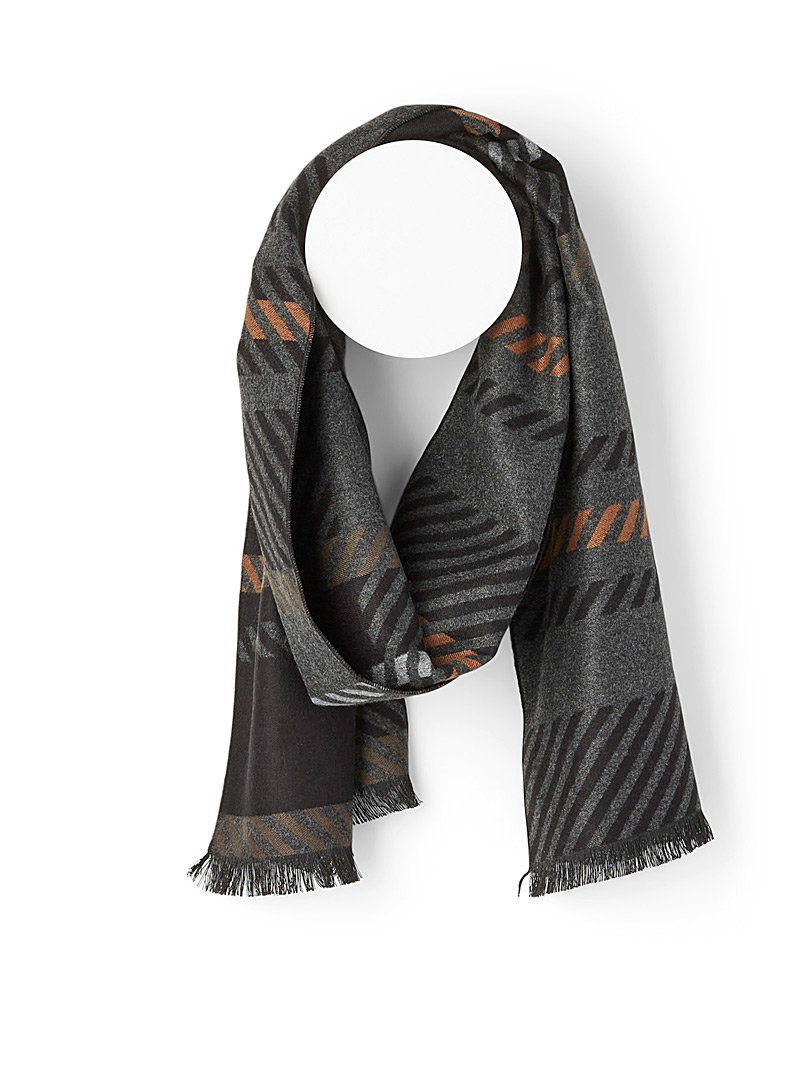 Le 31 Patterned Brown Graphic scarf for men
