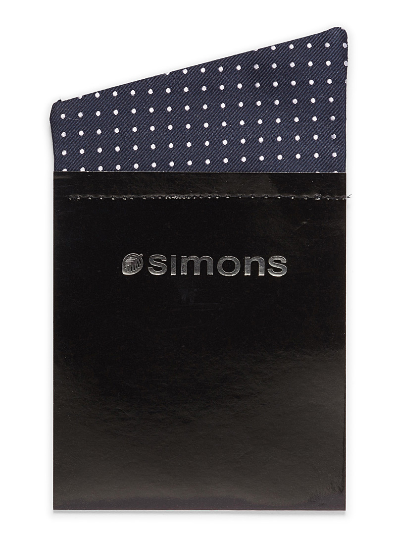 Simons Black Dotted trompe-l'oeil pocket square for men