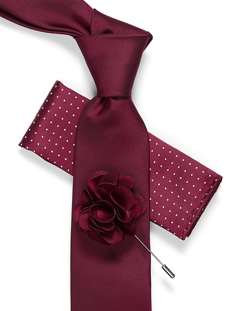 Tie, pocket square, and flower lapel pin set - Pocket Squares & Scarves - Red