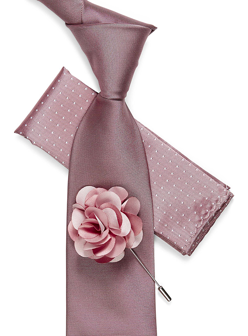 Tie, pocket square, and flower lapel pin set - Pocket Squares & Scarves - Dusky Pink