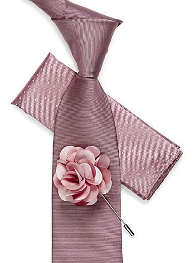 Tie, pocket square, and flower lapel pin set