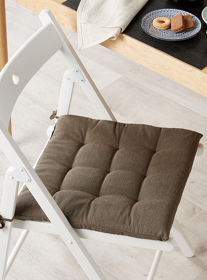 Solid quilted chairpad  38 x 38 cm - Seat Cushions - Brown