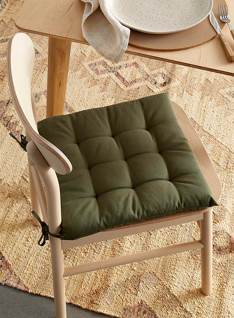 Simons Maison Khaki Solid quilted chairpad 40 x 40 cm