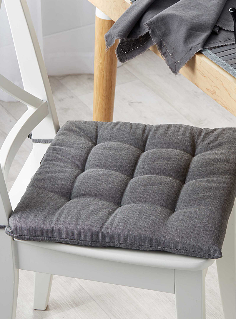 Solid quilted chairpad  38 x 38 cm - Seat Cushions - Grey
