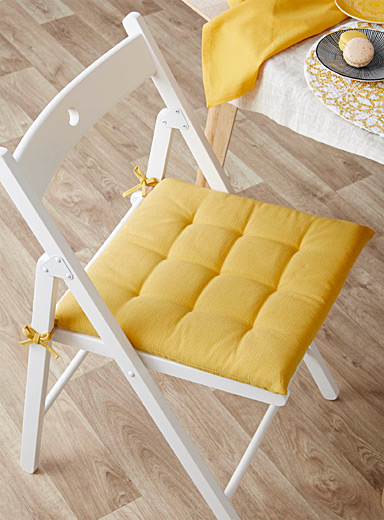 Simons Maison Medium Yellow Solid quilted chairpad  40 x 40 cm