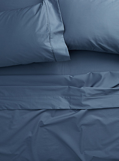 Simons Maison Dark Blue Liquid cotton sheet set, 500 thread count  Fits mattresses up to 15 in.