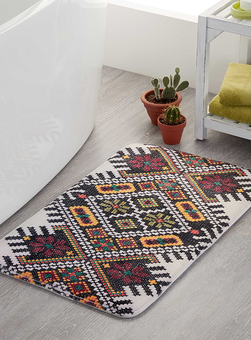 Embroidery-style bath mat  50 x 80 cm - Printed - Assorted