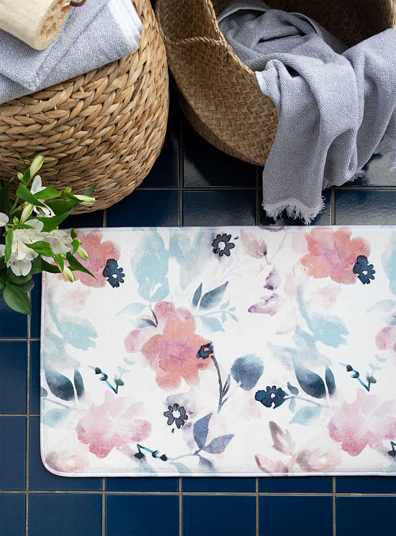 Simons Maison Assorted Watercolour flowers bath mat  50 x 80 cm