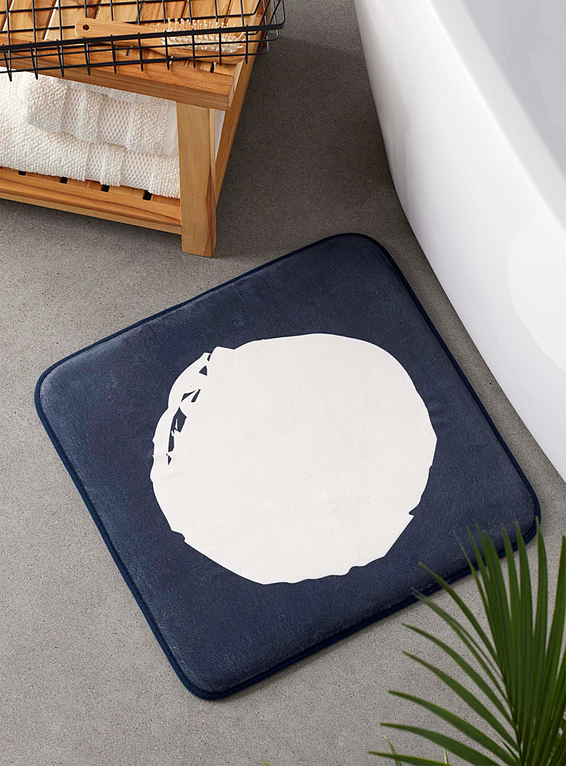 Simons Maison Patterned Blue Full moon memory foam bath mat  50 x 50 cm
